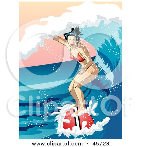 Royalty-free (RF) Clipart Illustration of a Surfing Woman Riding Inside A Curling Ocean Wave by r formidable