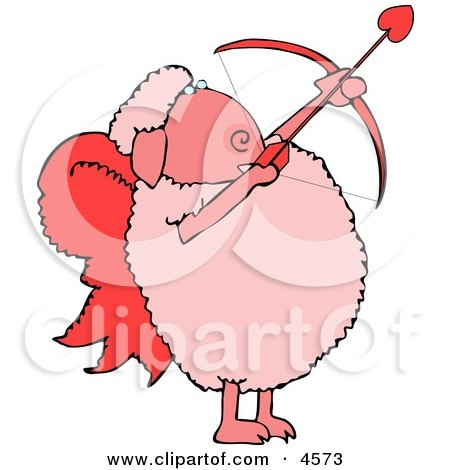 Anthropomorphic Valentine's Day Cupid Sheep with Angel Wings & Bow an Arrow Posters, Art Prints