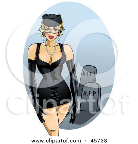 Royalty-free (RF) Clipart Illustration of a Sexy Pinup Widow Woman In A Tight Black Dress by r formidable