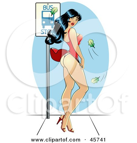 Royalty-free (RF) Clipart Illustration of a Sexy Pinup Woman Waiting At A Bus Top, Her Dress Blowing Up In The Wind by r formidable