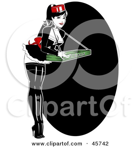 Royalty-free (RF) Clipart Illustration of a Sexy Pinup Woman Carrying A Cigar Tray by r formidable
