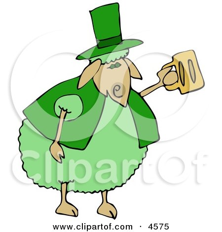 Green Anthropomorphic Sheep Drinking Beer On St Patrick's Day Clipart by Dennis Cox