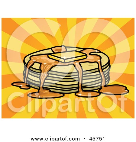 Royalty-free (RF) Clipart Illustration of Syrup And Melted Butter Topping A Stack Of Pancakes by r formidable