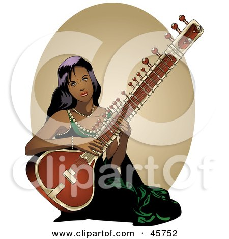 Royalty-free (RF) Clipart Illustration of a Pretty Indian Woman Playing A Sitar Instrument by r formidable