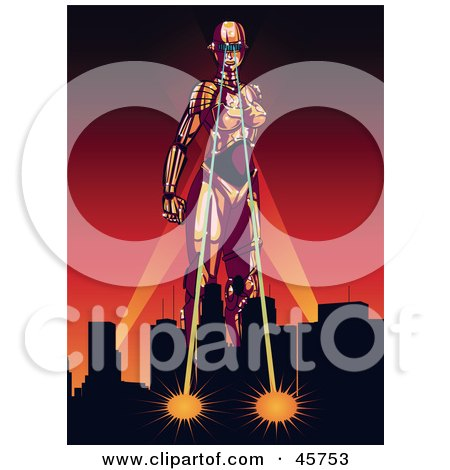 Royalty-free (RF) Clipart Illustration of a Strong Female Robot Attacking A City With Ray Eyes, Against A Red Sunset by r formidable