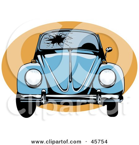 Royalty-free (RF) Clipart Illustration of a Blue Slug Bug With A Shattered Windshield by r formidable