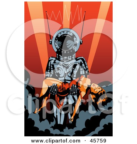 Royalty-free (RF) Clipart Illustration of a Robotic Creature Carrying A Passed Out Woman In His Arms by r formidable