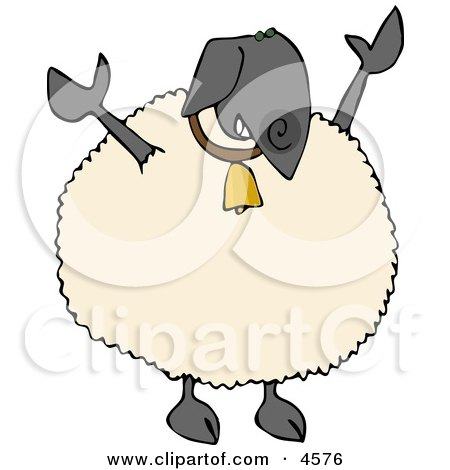 Anthropomorphic Black Sheep Wearing Bling-bling Gold Bell Around His Neck Clipart by djart