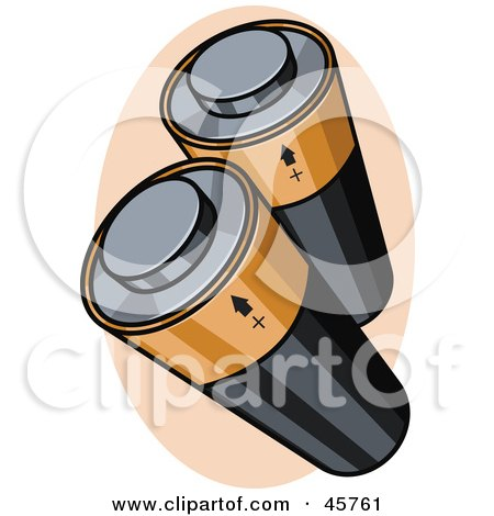Royalty-free (RF) Clipart Illustration of Two Black And Gold Batteries by r formidable
