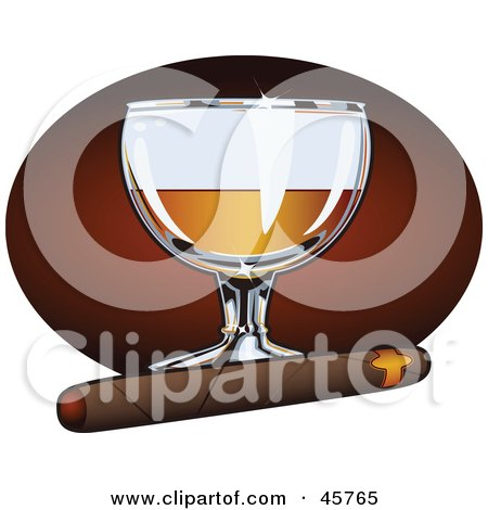 Royalty-free (RF) Clipart Illustration of a Cigar Resting In Front Of A Glass Of Liquor by r formidable