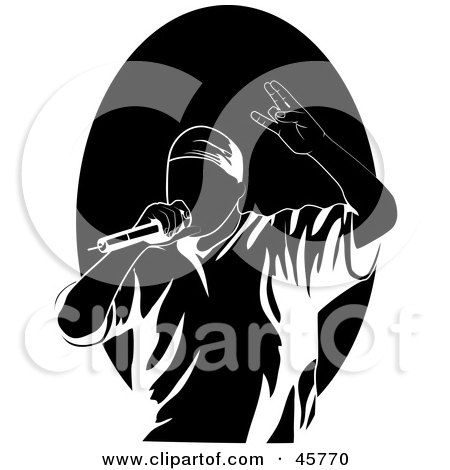 Royalty-free (RF) Clipart Illustration of a Performing Male Rapper Or Hip Hop Artist Singing Into A Microphone by r formidable