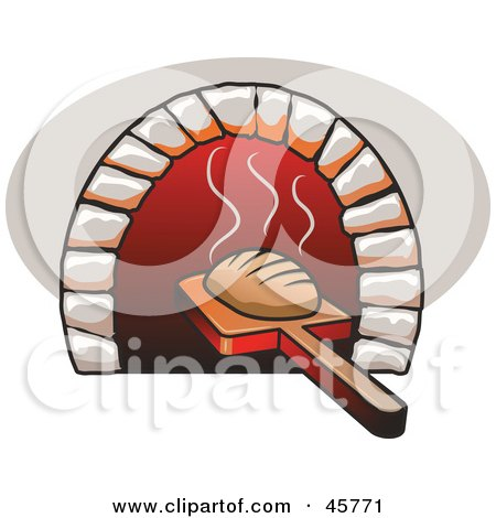 Royalty-free (RF) Clipart Illustration of Fresh Baked Bread Being Removed From A Bread Oven by r formidable