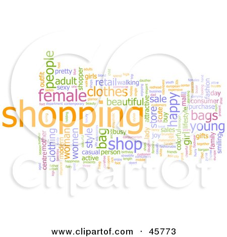 Royalty-free (RF) Clipart Illustration of a Background Of Colorful Shopping Word Tags by Kheng Guan Toh