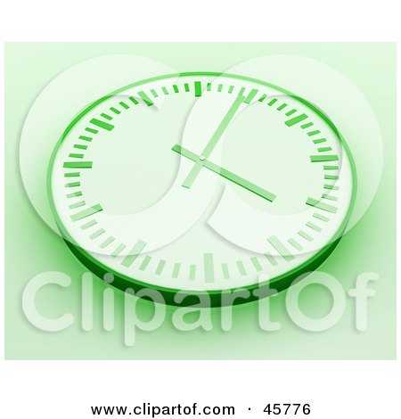 Royalty-free (RF) Clipart Illustration of a Green Wall Clock With Shading On A White Background by Kheng Guan Toh