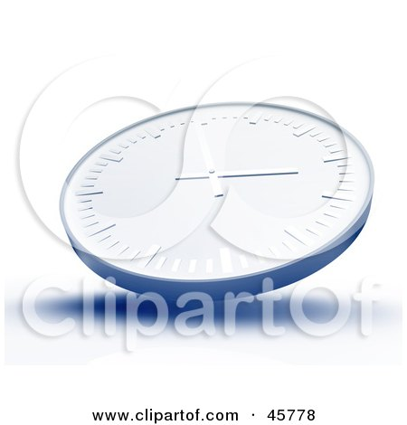 Royalty-free (RF) Clipart Illustration of a Blue Wall Clock With Shading On A White Background by Kheng Guan Toh