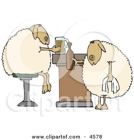 Anthropomorphic Sheep Drinking Beer Together in a Bar Clipart by djart