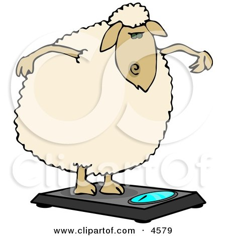 Anthropomorphic Fat Sheep Weighing Itself On a Scale Clipart by djart