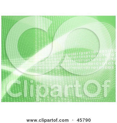 Royalty-free (RF) Clipart Illustration of a Green Background With Rows And Waves Of Lines And Binary Coding by Kheng Guan Toh