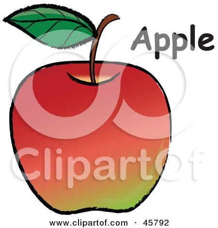 Royalty-free (RF) Clipart Illustration of an Organic Red Apple With A Stem, Leaf And Text by Pams Clipart