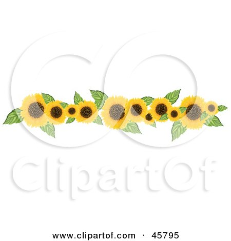 Royalty-free (RF) Clipart Illustration of a Border Or Header Of Yellow Sunflowers And Leaves by Pams Clipart