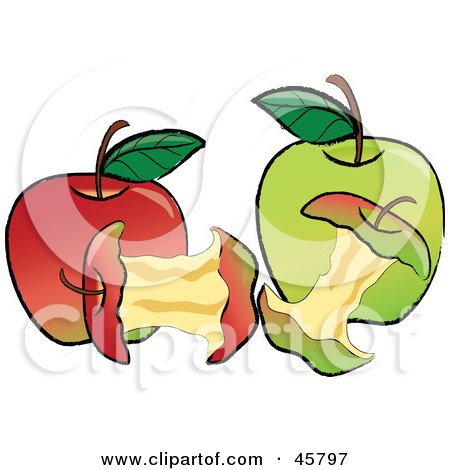 Royalty-free (RF) Clipart Illustration of Devoured Cores In Front Of Red And Green Organic Apples by Pams Clipart