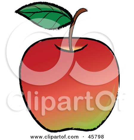 Royalty-free (RF) Clipart Illustration of a Single Leaf On The Stem Of An Organic Red Apple by Pams Clipart