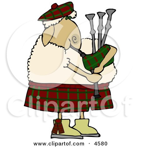 Scottish Anthropomorphic Sheep Playing a Bagpipe Clipart by djart