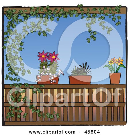Ivy Vine Framing A Scene Of Potted Plants On A Patio Railing Posters, Art Prints