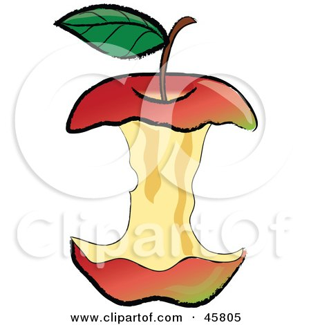Royalty-free (RF) Clipart Illustration of an Organic Red Apple Core After Being Devoured by Pams Clipart