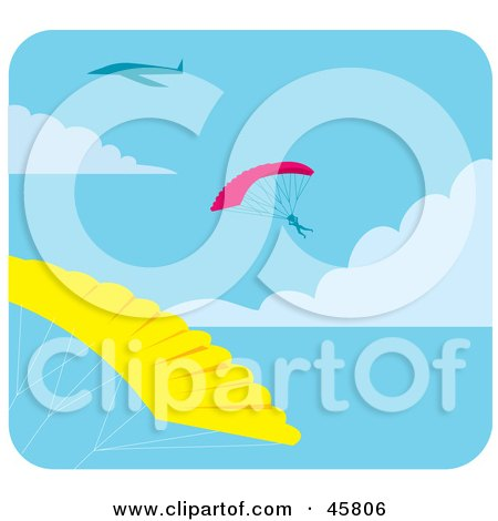 Royalty-free (RF) Clipart Illustration of Paragliders Floating In The Sky by Monica