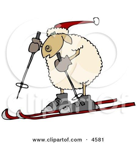 Anthropomorphic Sheep Snow Skiing Clipart by djart