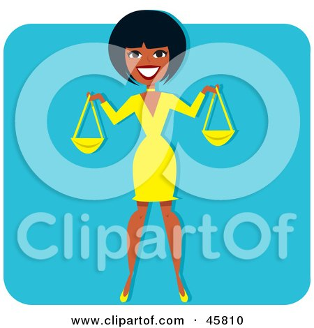 Royalty-free (RF) Clipart Illustration of a Black Woman Holding Scales Or Bags by Monica