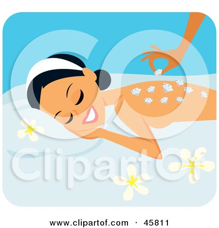 Royalty-free (RF) Clipart Illustration of a Relaxed Woman Getting A Luxurious Diamond Massage by Monica