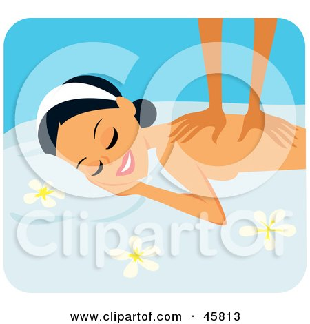 Royalty-free (RF) Clipart Illustration of a Relaxed Woman Getting A Back Massage by Monica