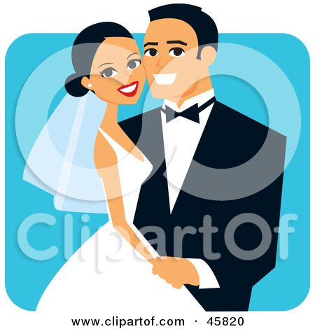 Royalty Free RF Clipart Illustration Of A Happy Hispanic Bride And Groom Posing For A Portrait