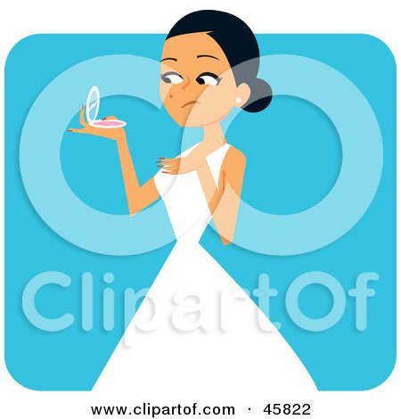 Royalty-free (RF) Clipart Illustration of a Bride Holding A Compact And Inspecting A Blemish On Her Cheek by Monica