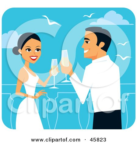 Royalty-free (RF) Clipart Illustration of a Romantic Bride And Groom Toasting With Champagne On Their Honeymoon by Monica