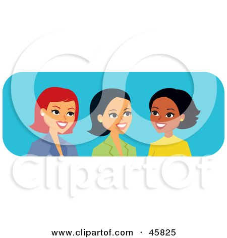 Royalty-free (RF) Clipart Illustration of Diverse Caucasian, Hispanic And Black Women Talking by Monica
