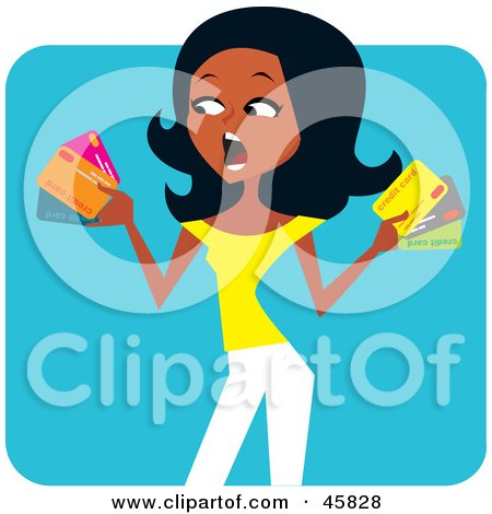 Royalty-free (RF) Clipart Illustration of a Stressed Out Black Woman Holding Credit Cards by Monica