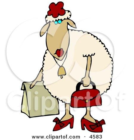 Anthropomorphic Female Sheep (ewe) Shopping Clipart by Dennis Cox