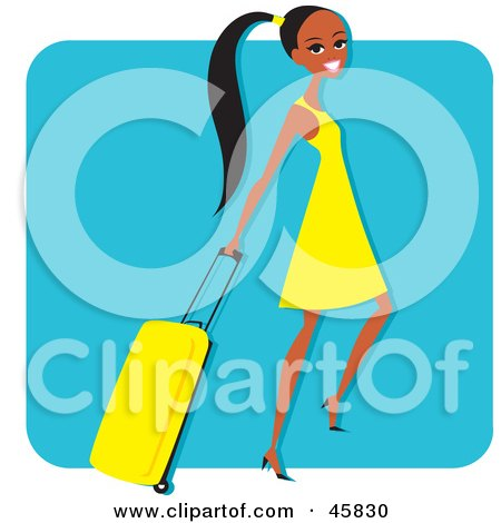 Royalty-free (RF) Clipart Illustration of a Young And Pretty Black Woman Pulling A Rolling Suitcase by Monica