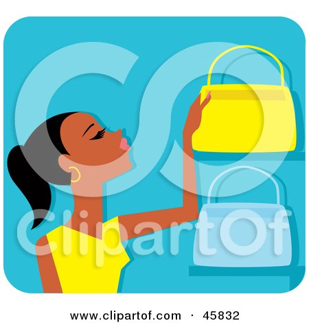 Royalty-free (RF) Clipart Illustration of a Black Woman Shopping For Purses by Monica