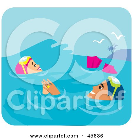 Royalty-free (RF) Clipart Illustration of a Relaxed Couple Floating In The Water While Scuba Diving On Their Honeymoon by Monica