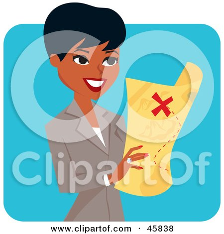 Royalty-free (RF) Clipart Illustration of a Pretty Black Businesswoman Holding A Treasure Map by Monica