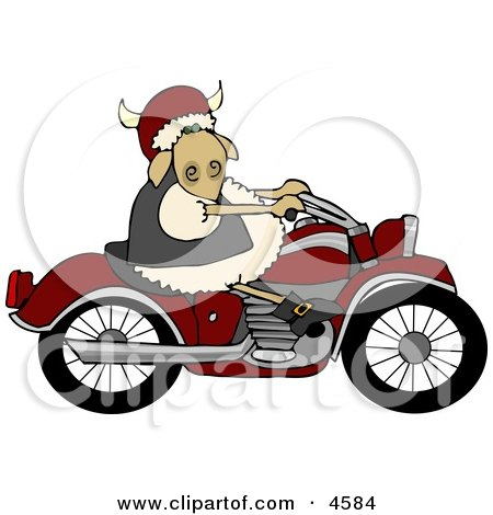 Anthropomorphic Sheep Riding a Motorcycle Clipart by djart