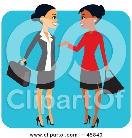 Royalty-free (RF) Clipart Illustration of Pretty Hispanic And Black Business Women Chatting by Monica