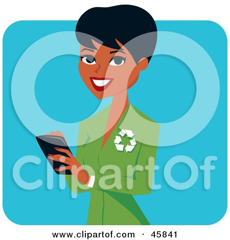 Royalty-free (RF) Clipart Illustration of a Pretty Black Female Ecologist Wearing A Green Suit by Monica