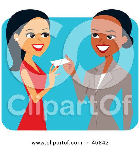 Royalty-free (RF) Clipart Illustration of a Friendly Black Businesswoman Giving Her Card To A Potential Client by Monica