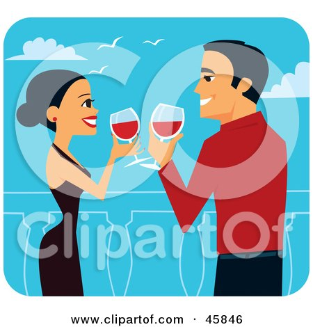Royalty-free (RF) Clipart Illustration of a Romantic Couple Toasting With Red Wine On Their Honeymoon by Monica