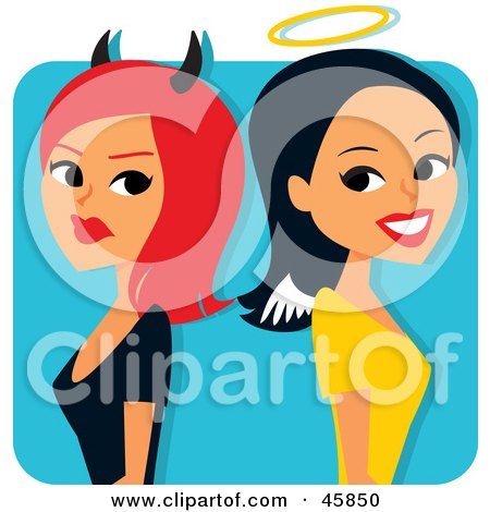 Royalty-free (RF) Clipart Illustration of a Red Haired She Devil Standing Back To Back With An Angelic Woman by Monica